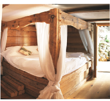 holiday chalet alps, 4 poster double bed